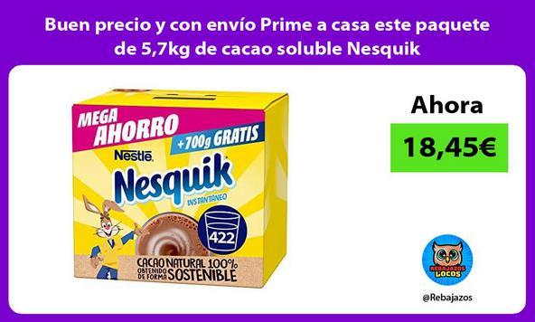Buen precio y con envío Prime a casa este paquete de 5,7kg de cacao soluble Nesquik