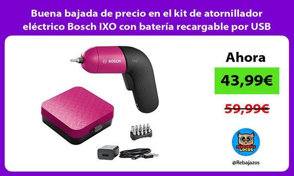 Buena bajada de precio en el kit de atornillador eléctrico Bosch IXO con batería recargable por USB