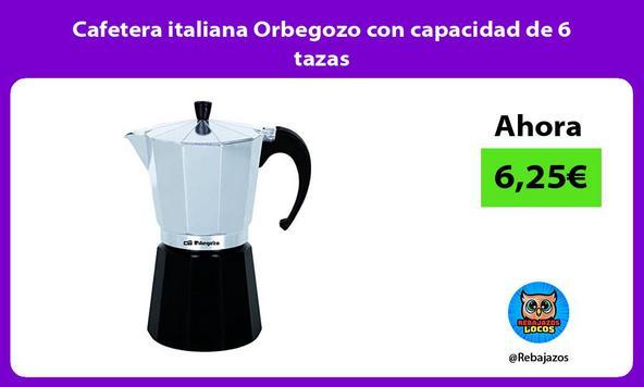 Cafetera italiana Orbegozo con capacidad de 6 tazas