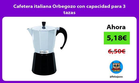 Cafetera italiana Orbegozo con capacidad para 3 tazas