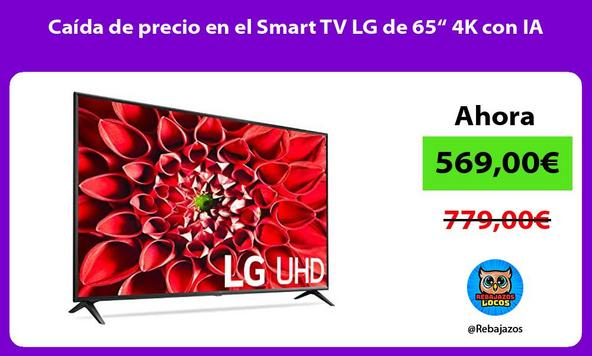 """Caída de precio en el Smart TV LG de 65"""" 4K con IA"""