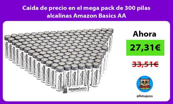 Caída de precio en el mega pack de 300 pilas alcalinas Amazon Basics AA