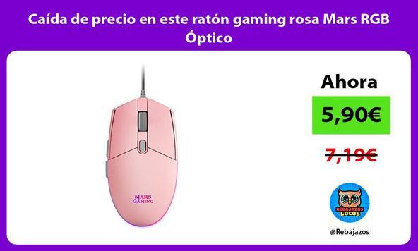 Caída de precio en este ratón gaming rosa Mars RGB Óptico