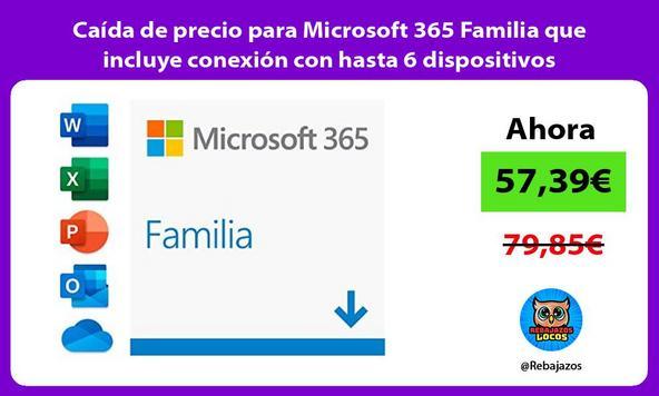 Caída de precio para Microsoft 365 Familia que incluye conexión con hasta 6 dispositivos