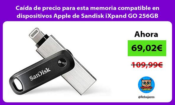 Caída de precio para esta memoria compatible en dispositivos Apple de Sandisk iXpand GO 256GB