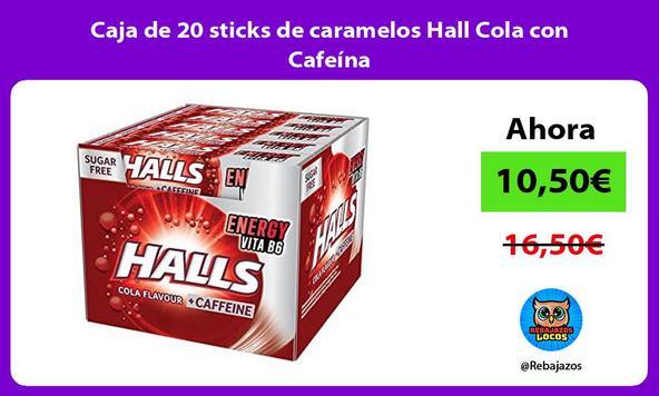 Caja de 20 sticks de caramelos Hall Cola con Cafeína