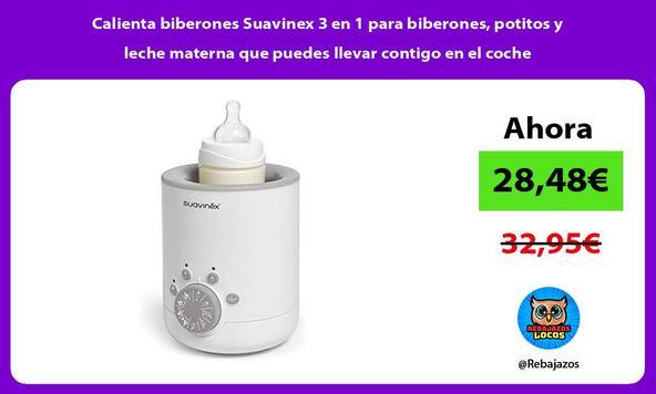 Calienta biberones Suavinex 3 en 1 para biberones, potitos y leche materna que puedes llevar contigo en el coche
