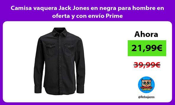 Camisa vaquera Jack Jones en negra para hombre en oferta y con envío Prime
