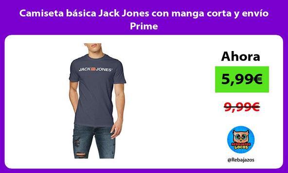 Camiseta básica Jack Jones con manga corta y envío Prime