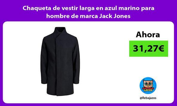 Chaqueta de vestir larga en azul marino para hombre de marca Jack Jones