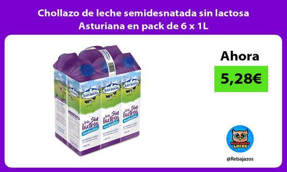 Chollazo de leche semidesnatada sin lactosa Asturiana en pack de 6 x 1L