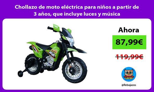 Chollazo de moto eléctrica para niños a partir de 3 años, que incluye luces y música