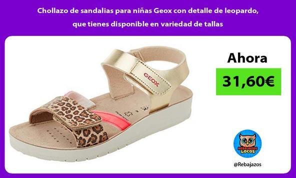 Chollazo de sandalias para niñas Geox con detalle de leopardo, que tienes disponible en variedad de tallas