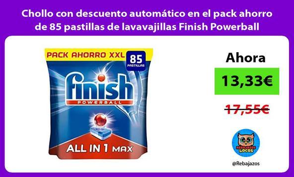 Chollo con descuento automático en el pack ahorro de 85 pastillas de lavavajillas Finish Powerball