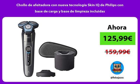 Chollo de afeitadora con nueva tecnología Skin IQ de Philips con base de carga y base de limpieza incluidas/