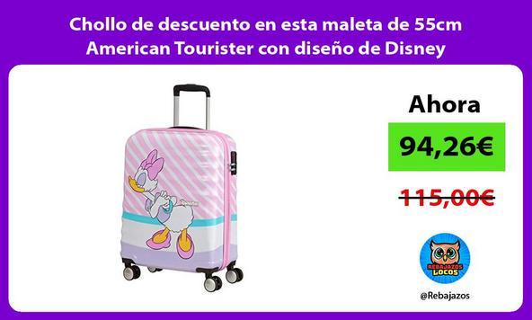 Chollo de descuento en esta maleta de 55cm American Tourister con diseño de Disney