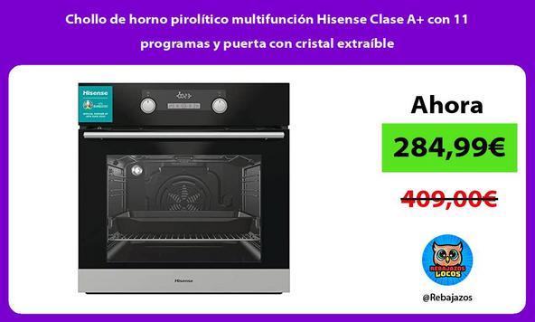 Chollo de horno pirolítico multifunción Hisense Clase A+ con 11 programas y puerta con cristal extraíble