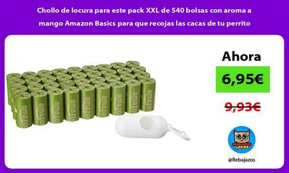 Chollo de locura para este pack XXL de 540 bolsas con aroma a mango Amazon Basics para que recojas las cacas de tu perrito