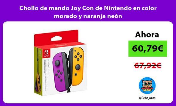 Chollo de mando Joy Con de Nintendo en color morado y naranja neón