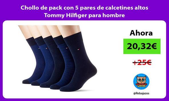 Chollo de pack con 5 pares de calcetines altos Tommy Hilfiger para hombre