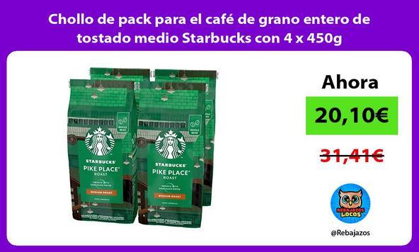 Chollo de pack para el café de grano entero de tostado medio Starbucks con 4 x 450g