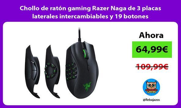 Chollo de ratón gaming Razer Naga de 3 placas laterales intercambiables y 19 botones programables