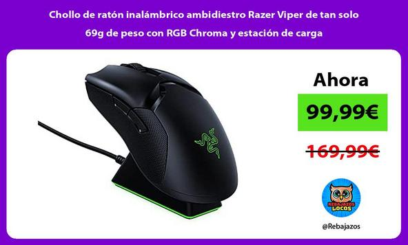 Chollo de ratón inalámbrico ambidiestro Razer Viper de tan solo 69g de peso con RGB Chroma y estación de carga