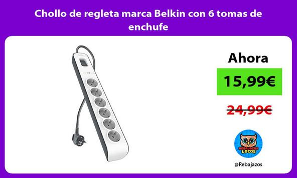 Chollo de regleta marca Belkin con 6 tomas de enchufe