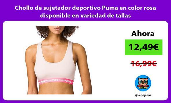 Chollo de sujetador deportivo Puma en color rosa disponible en variedad de tallas