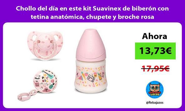 Chollo del día en este kit Suavinex de biberón con tetina anatómica, chupete y broche rosa