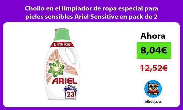 Chollo en el limpiador de ropa especial para pieles sensibles Ariel Sensitive en pack de 2