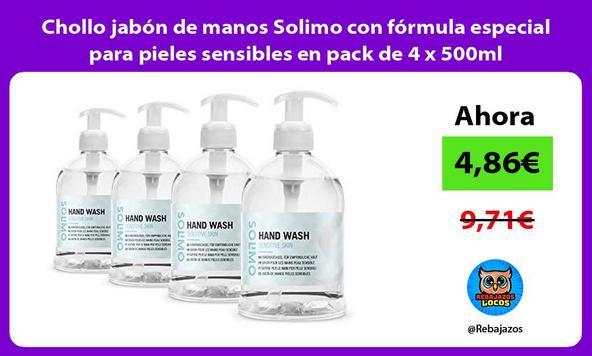 Chollo jabón de manos Solimo con fórmula especial para pieles sensibles en pack de 4 x 500ml