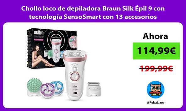 Chollo loco de depiladora Braun Silk Épil 9 con tecnología SensoSmart con 13 accesorios
