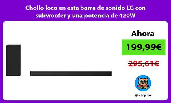 Chollo loco en esta barra de sonido LG con subwoofer y una potencia de 420W