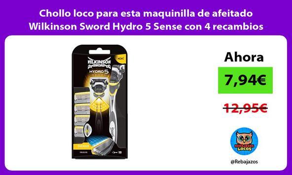 Chollo loco para esta maquinilla de afeitado Wilkinson Sword Hydro 5 Sense con 4 recambios