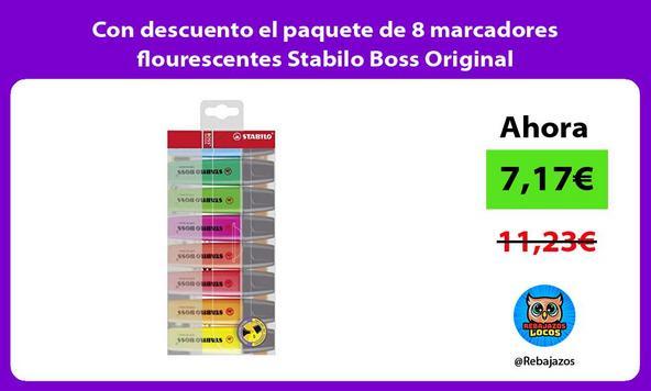 Con descuento el paquete de 8 marcadores flourescentes Stabilo Boss Original