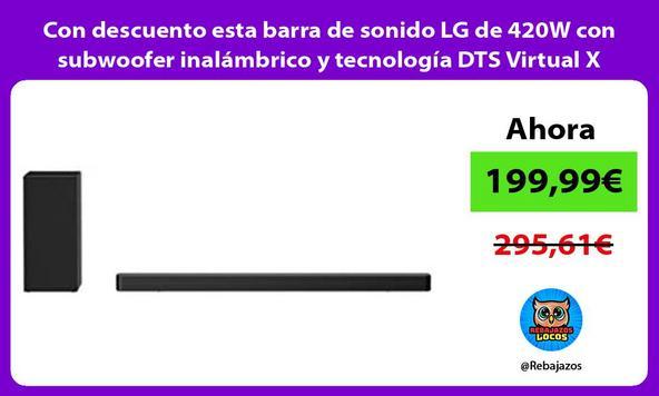 Con descuento esta barra de sonido LG de 420W con subwoofer inalámbrico y tecnología DTS Virtual X