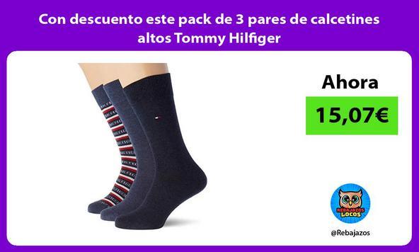 Con descuento este pack de 3 pares de calcetines altos Tommy Hilfiger