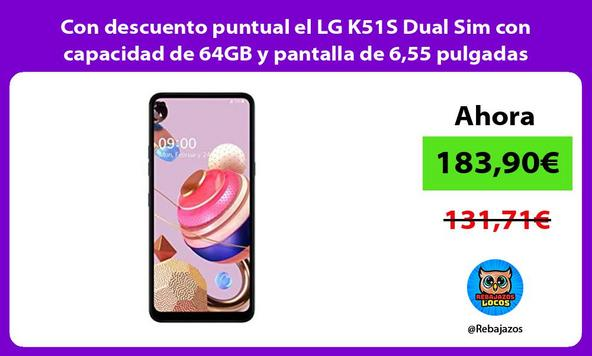 Con descuento puntual el LG K51S Dual Sim con capacidad de 64GB y pantalla de 6,55 pulgadas