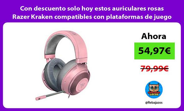 Con descuento solo hoy estos auriculares rosas Razer Kraken compatibles con plataformas de juego