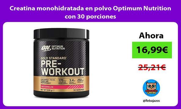 Creatina monohidratada en polvo Optimum Nutrition con 30 porciones