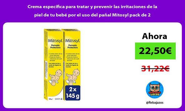 Crema específica para tratar y prevenir las irritaciones de la piel de tu bebé por el uso del pañal Mitosyl pack de 2