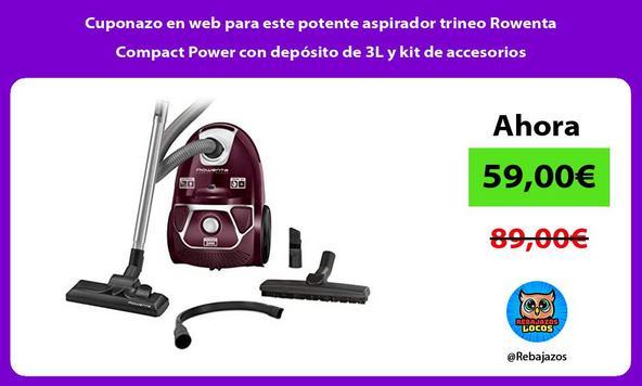 Cuponazo en web para este potente aspirador trineo Rowenta Compact Power con depósito de 3L y kit de accesorios