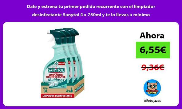 Dale y estrena tu primer pedido recurrente con el limpiador desinfectante Sanytol 4 x 750ml y te lo llevas a mínimo