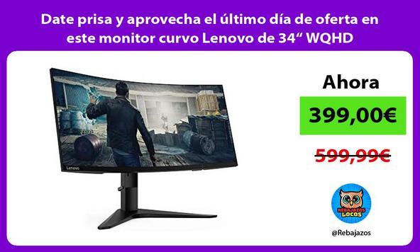 """Date prisa y aprovecha el último día de oferta en este monitor curvo Lenovo de 34"""" WQHD"""