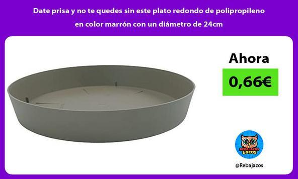 Date prisa y no te quedes sin este plato redondo de polipropileno en color marrón con un diámetro de 24cm