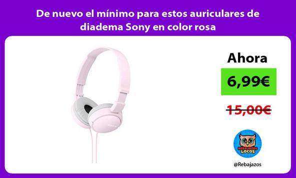 De nuevo el mínimo para estos auriculares de diadema Sony en color rosa