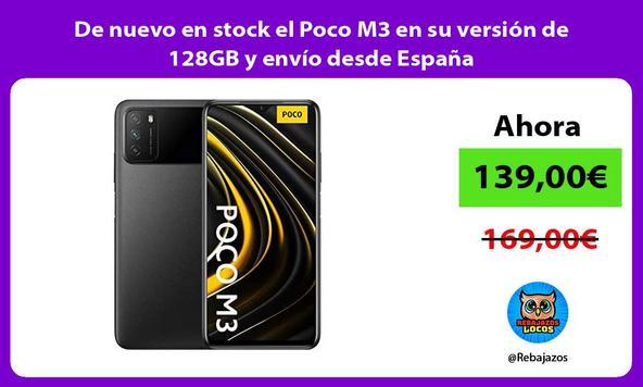 De nuevo en stock el Poco M3 en su versión de 128GB y envío desde España