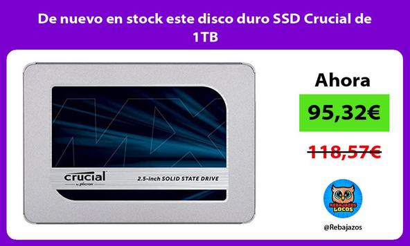 De nuevo en stock este disco duro SSD Crucial de 1TB