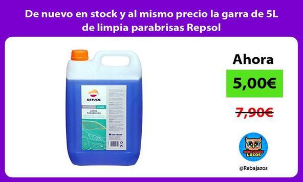 De nuevo en stock y al mismo precio la garra de 5L de limpia parabrisas Repsol